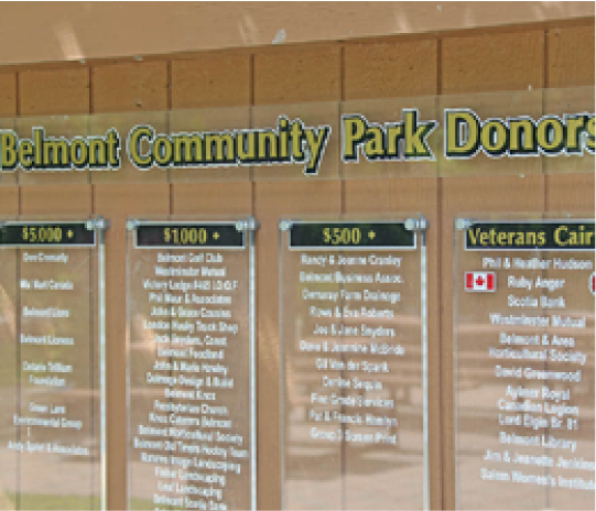 belmont community park donation